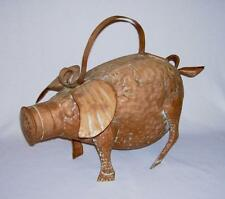 "Whimsical Solid Hammered & Crafted Copper-Toned Tin ""PIG"" WATERING CAN"