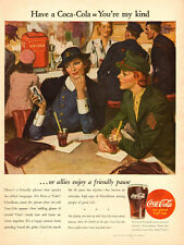 1944 WW2 Ad, COCA COLA , Great Art British and American Service Women 091414