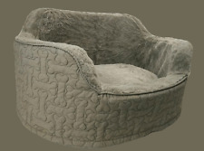 Bone Pattern Pet Lounge, Dog & Cat Day Bed, Basket, Faux Fur Lining - Khaki/Grey