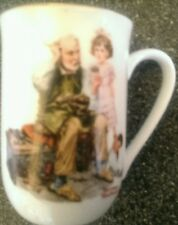 "New Vintage Norman Rockwell Museum ""The Cobbler"" Coffee Cocoa Cup Mug, Gold Trim"