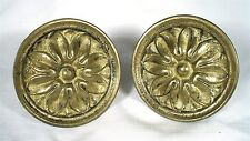VINTAGE BRONZE FINISH FLORAL CURTAIN SCONCE ACCENT TIE BACK TOWEL HOLDER SET 2