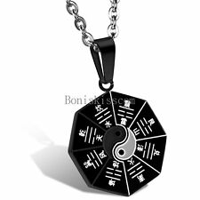 Stainless Steel Yin Yang Ba Gua Eight Diagrams Necklace Pendant Black / Silver