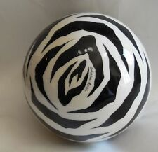 LARGE ART GLASS ORB BALL BLACK & WHITE ZEBRA STRIPE SIGNED