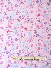 Fairy Fabric - Princess Flowers Fairies Pink CM3816 Timeless Treasures - YARD