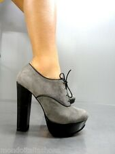 MORI ITALY SEXY HIGH HEELS ANKLE SHOES BOOT STIEFEL PUMPS LEATHER GREY GRIGIO 39
