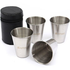 Set of 4 Stainless Steel Cup Mug Drinking Coffee Tea Tumbler Camping Travel New