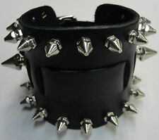 Wide Black Leather Watch Band With Silver/Chrome Spikes Made in USA Buckled