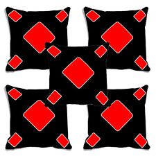 meSleep Black Poker Digitally Printed Cushion Cover (16X16)- Set of 5