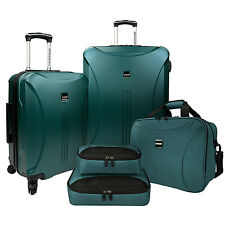 US Traveler Skyscraper Green 5pc Spinners Luggage Suitcase Tote Packing Cube Set