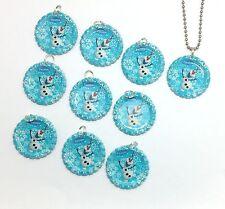 Disney Frozen Olaf Lot of 10 Bottle Cap Necklace Party Favors Factory Painted