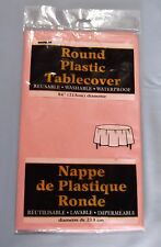 "New In Package Round Reusable Waterproof Plastic Pink 84"" Tablecover"
