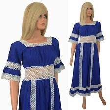 Vtg 60s Hippy Boho Maxi Dress CROCHET Cage Cutout PINTUCK Mod Mexican Tea Blue