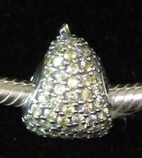 UNBRANDED 925 Silver LIGHT PEAR GREEN PAVE CZ PEAR EUROPEAN BEAD CHARM