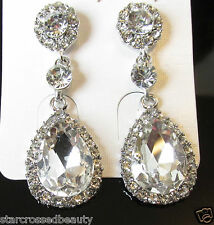 Silver Teardrop Earrings Bridal Prom 1920s Great Gatsby Diamante Drop Stud R27