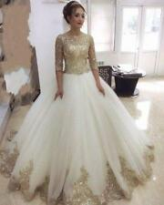 Golden Lace Wedding Dress with Sleeves Custom Made Ball Gown Wedding Gowns