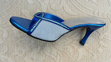BLUE LADIES WEDDING PARTY SLIPPER/MULES/BACKLESS SMALL HEEL SIZE 7