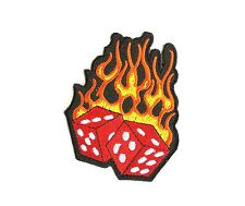 Hot Lucky Dice Rockabilly Hot Rod Embroidered Iron On Jeans Shirt Badge Patch