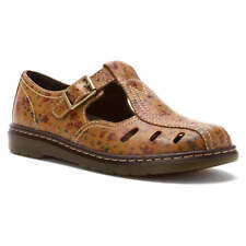 Dr. Martens Women's Cesca Cut Out T-Bar Mary Jane Tan Flowers  US 6 EU 37 UK 4