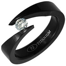 Black Plated TITANIUM BYPASS TENSION Solitaire RING with 4.5mm Round CZ, size 7