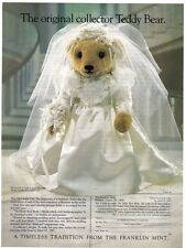 "FRANKLIN MINT DOLL TEDDY BEAR VICTORIAN BRIDE 18"" NIB"