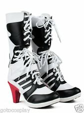 Harley Quinn DC Suicide Squad Boots Heels Shoes Cosplay Movie Halloween Custom