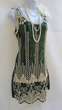 Anni 1920 Stile Gatsby Look Vintage Paillettes Charleston Flapper dress size 10/12