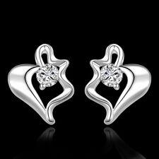 New Women 925 Sterling Silver Plated Stylish Modern Heart Dangle Studs Earrings