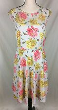 NWT Betsey Johnson Dress Size 10 Floral Rose Yellow Pink White Sundress