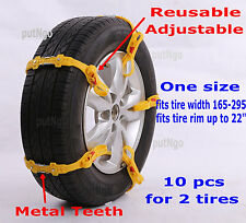 Reusable & Adjustable Zip Grip Go car/SUV/light truck snow tire chain/strap 10pc