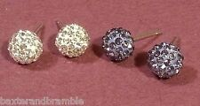Silver Stud Earrings, Violet & Clear Crystal ball  x 2 sets
