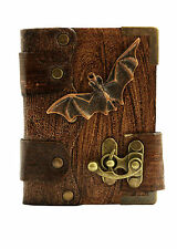 Bat Pendant Brown Leather Journal / Diary / Sketchbook / Leatherbound / Lock