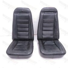 Corvette Original Black Leather Seat Assembly Pair w/Shoulder Harness 1972-1975