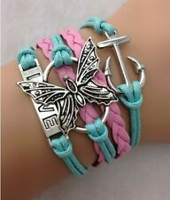 Retro Infinity butterfly anchor Leather Charm Bracelet plated Silver JewelrygifT