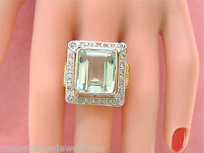 VINTAGE RETRO .45ctw ROSE DIAMOND 15ct AQUAMARINE SEAFOAM 18K COCKTAIL RING 1940