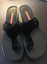 Womens Via Spiga  wedge thong sandal black suede leather shoes size 7 1/2 M