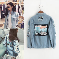 Women Embroidery Letters Jeans Loose BF Back Patch Denim Jacket Coats Oversize