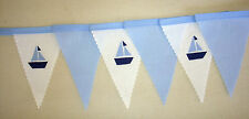 Baby Shower Blue White MINI Sailing Boat Fabric Bunting Bedroom Decoration Gift