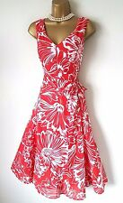 PHASE EIGHT Red White Dress 12 BNWT Penelope Floral Cotton 50s Fit Flare Summer