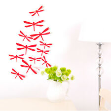 12pcs 3D Candy Color DIY Butterfly Dragonfly Decal Home Decor Wall Mural Sticker