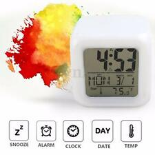New Glowing 7 LED Changing Digital Alarm Clock Date Thermometer Time Snooze LCD