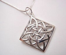 Celtic Style Squares and Circle Pendant 925 Sterling Silver Corona Sun Jewelry