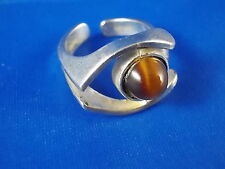 Design Ring 925 Silber mit Tigerauge vintage Modernist 60er/70er Germany