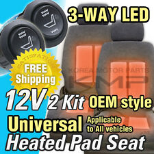 Universal Heated Pad Kit 2 Seat(8 Pads) Heater Car Truck SUV(3-Way LED Switch)