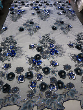 Lace Embroidery Fabric by the Yard Wholesale Royal Blue Mesh