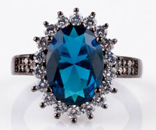 Jewelry Size9 sapphire CZ Fashion Black 18K Gold Filled Rings 5.20ct BB36