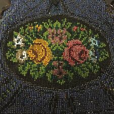 Micro Beaded Purse Floral Roses Blue Pink Green German Needs Repair Antique