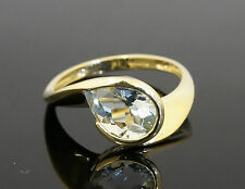 9ct Yellow Gold Pear Aquamarine(1.36ct) Solitaire Ring (Size P)