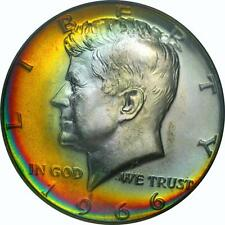 1966 SMS KENNEDY HALF DOLLAR MS 67 - BEAUTIFUL IRIDESCENT RARE OBV/REV COLOR -