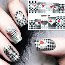 1 Sheet Black White Plaid Heart Nail Art Wraps Full Stickers DIY Decoration