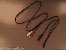 Red White RCA Stereo Audio Y Cord Cable into Headphone Jack Plug 3.5mm Aux USA